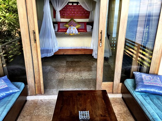 Blue Moon Villas: the bedroom and terrace