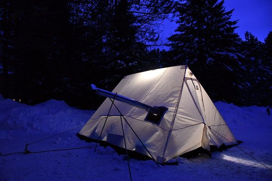 Kearney, Canada: Winter tent with woodstove provided by Algonquin Basecamp