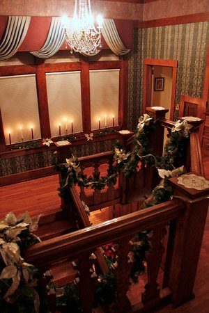 Bloomfield, IA: The stairway decorated for Christmas
