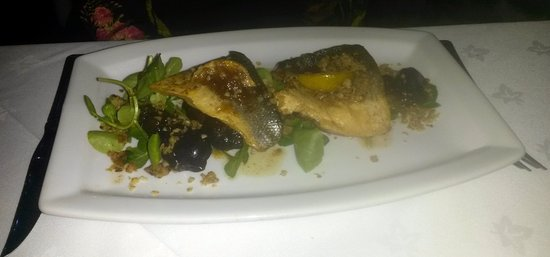 Higham, UK: Pan Seared Sea Bass, Pomme Violets, Walnut and Cheese Crumble, Lime Butter