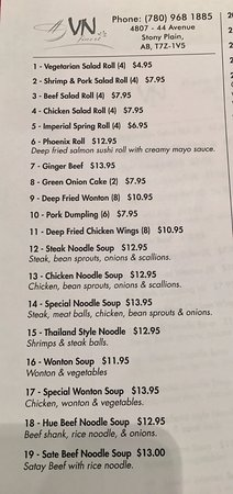 Stony Plain, Canada: Take-Out Menu pg.1 (updated feb 2017)