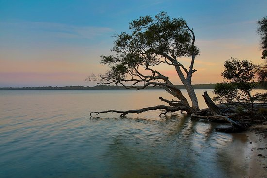 Noosaville, Australië: looking south from western shore at sunset