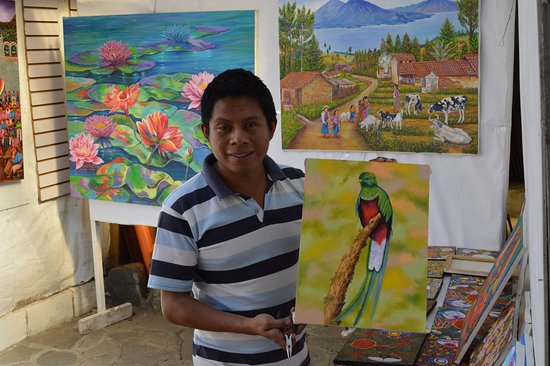 Aliix Mendoza, Owner and Painter, Aliix Art Gallery at San Juan La Laguna, Guatemala