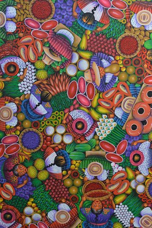 Beautiful native art in Aliix Art Gallery at San Juan La Laguna, Guatemala