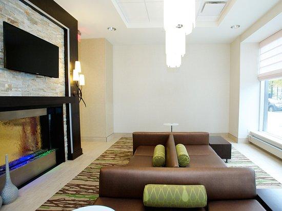 Hotel Lobby Fireplace Picture Of Hilton Garden Inn Buffalo Downtown Buffalo Tripadvisor
