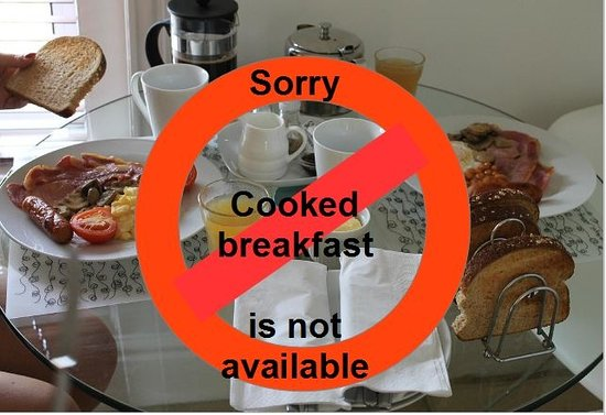 The Spinney Bed & Breakfast: Cooked breakfast is not available