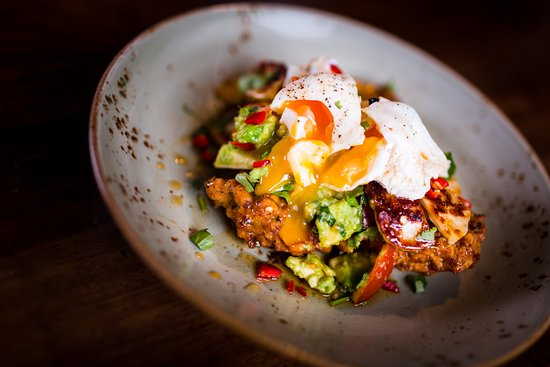 Boston Tea Party Alfred Street Sweetcorn Hash With Poached Eggs Halloumi And Avocado Salsa