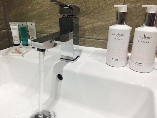 Charnock Richard, UK: Hand soaps and lotions pictured