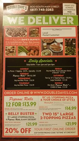 Double Dave's Pizzaworks: Menu