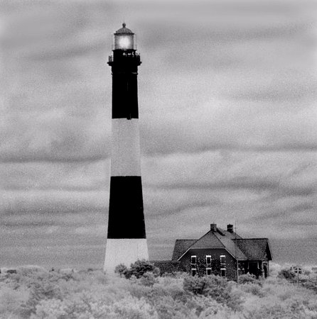 Fire Island Lighthouse: This is an old view before they added that Ugly arch roofed building that takes away the beauty
