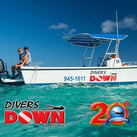 "Divers Down: ""Perseus"" one of our 5 boats - here shown on a charter to Stingray Sandbar."