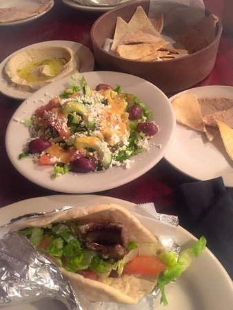 Aladdin Mediterranean Grill: We ordered the gyro sandwich with feta salad and hummus and pita bread.