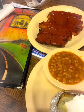 Cornersville, TN: The ribs plate with baked beans and baked potato.