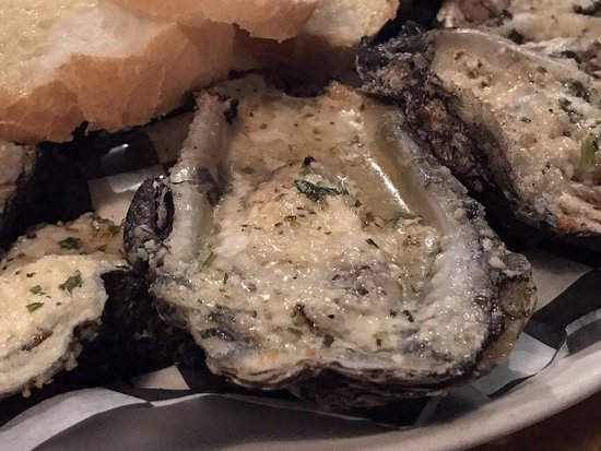 Bay Saint Louis, MS: Charbroiled oysters close-up
