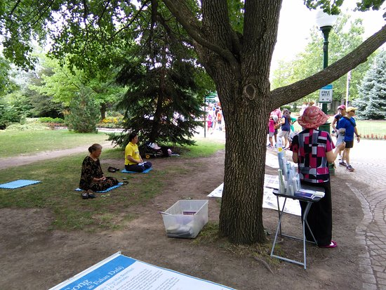 Niagara Falls State Park: People practicing meditation in the park