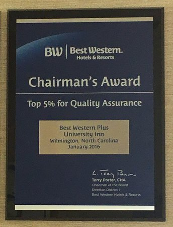 Best Western Plus Wilmington/Wrightsville Beach: Chairman's Award