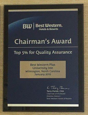 BEST WESTERN PLUS Wilmington/Wrightsville Beach: Chairman's Award