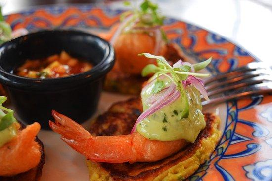 Cafe Ena: Cameron Caribe ( aperitivo) Beer battered shrimp, jalapeno aioli, sweet chili mango sauce