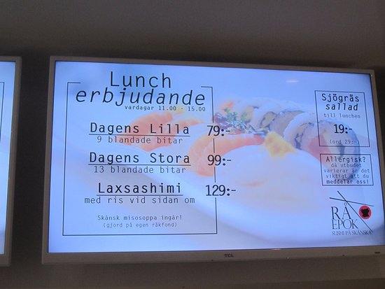 Lund, Suecia: lunch menu at Ra Epok