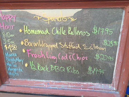 Avila Beach, CA: Today's specials.