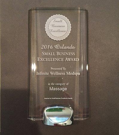 Infinite Wellness Medspa: 2016 Orlando Small Business Excellence Award for Massage