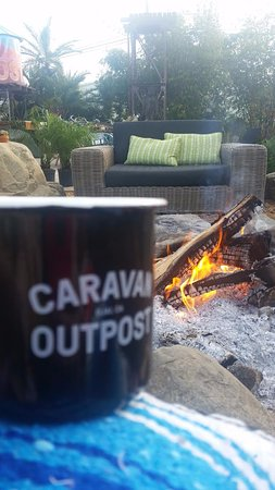 Ojai, CA: Morning coffee fireside