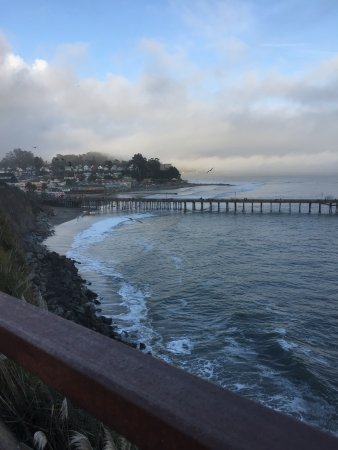 Capitola City Beach: View of Capitol Beach from above on cliff