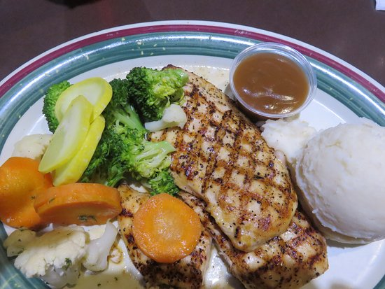 Houligan's: Grilled chicken, steamed veggies and mashed potatoes