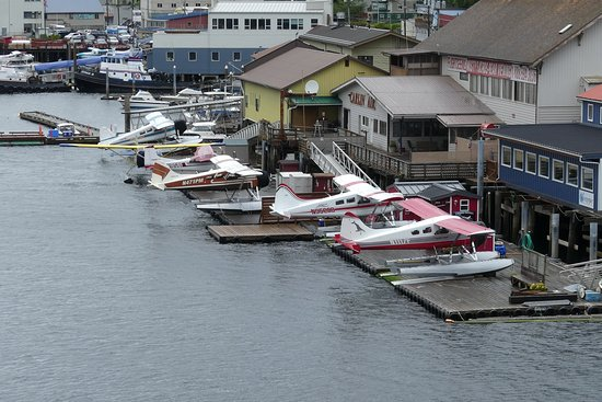 Island Wings Air Service: The float planes lined up but not flying due to bad weather