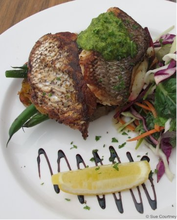 Silverdale, New Zealand: Market Fish - tonight pan fried snapper on a bed of seasonal veg instead of onion mash ($33)