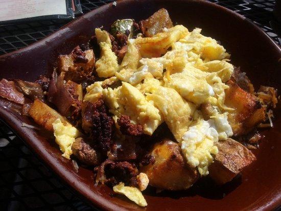 Sahuaro Cafe: Thiz is my Sahara Skillet with chorizo and scrambled eggs