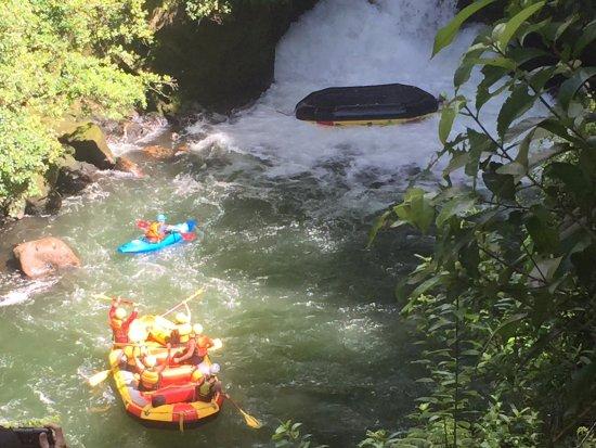 Окере-Фоллз, Новая Зеландия: A raft tips as it comes down the Okere Falls