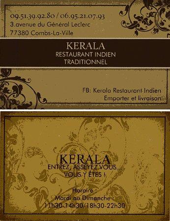 Kerala Restaurant Indien Carte De Visite