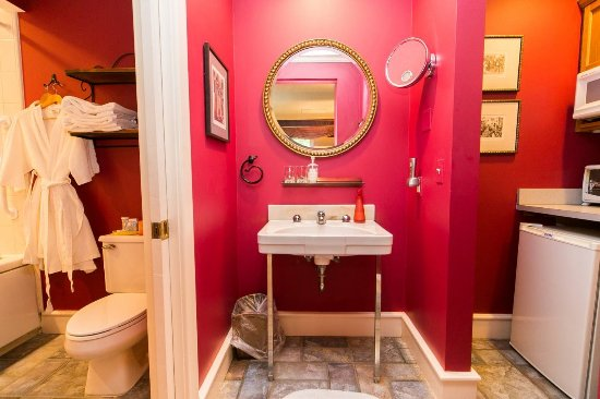 Saugatuck, MI: Bathroom and kitchenette, Orleans Cottage