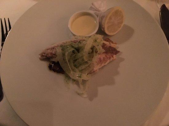 Brasserie Angelique: Perfect dish. Daurade en Croûte de SelBaked salt crusted Sea Bream, shaved Fennel, Cardamom Wi