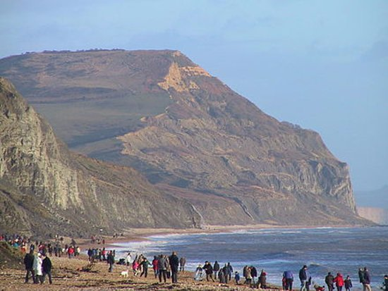 View along Charmouth Beach (East Beach) at high tide