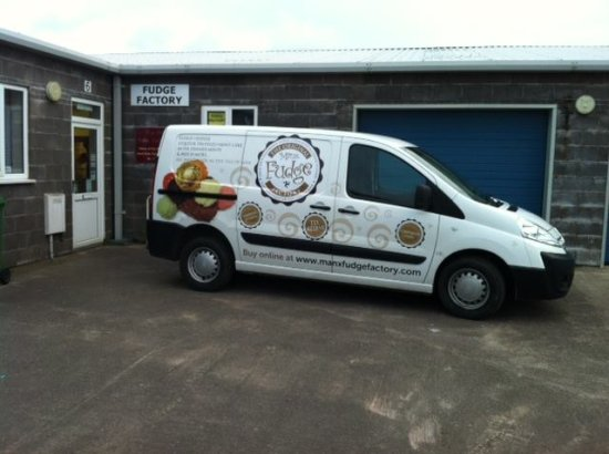 Ballasalla, UK: Our lovely signwritten van in front of the factory