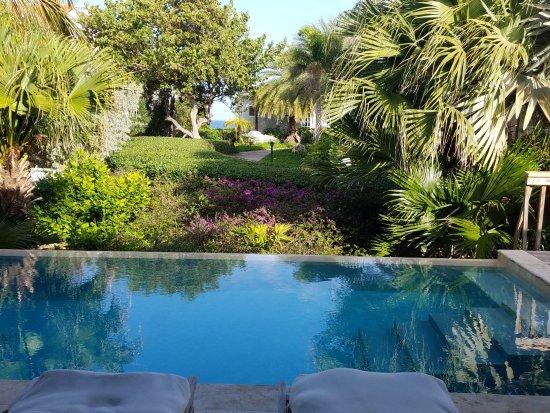 Meads Bay Beach Villas: view from villa 3. Villa 3 has an outdoor shower.