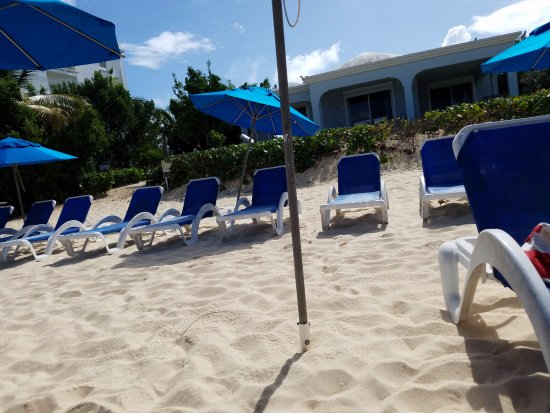 Meads Bay Beach Villas: Pick any chair you like. No getting up early!