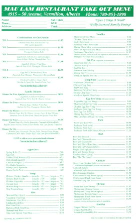 Vermilion, Канада: Take Out Menu