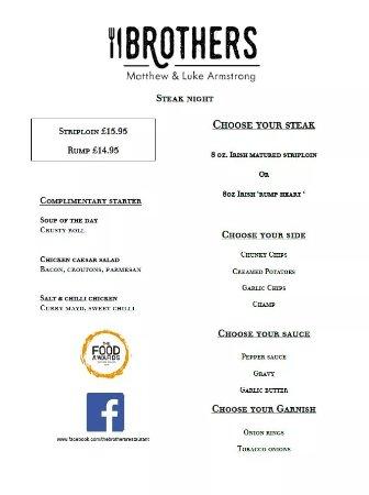 Ballyclare, UK: Our Thursday steak night offer