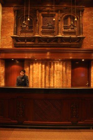 Hotel Yak & Yeti: A beautiful Newari style wood craft jharokha at the Yak & Yeti Hotel Reception