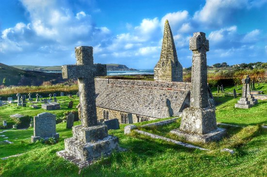 Trebetherick, UK: St. Enodoc Church... What a view.