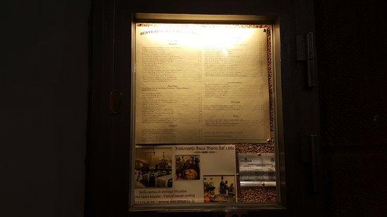 Buca Mario: Menu and history of restaurant at the front door