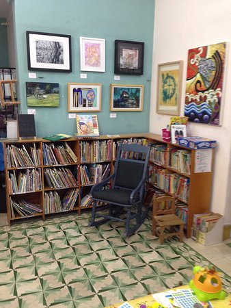 Merida English Library: Children's Section with local art exhibit