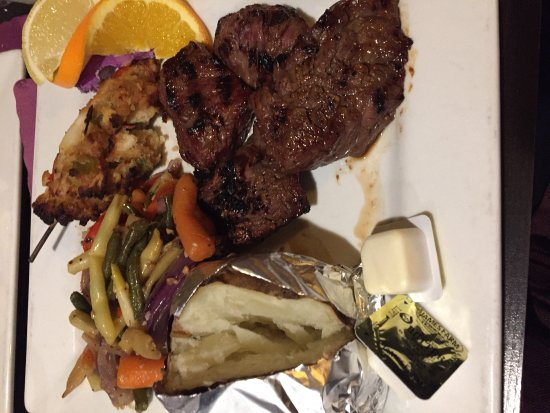Methuen, MA: My raw steaktips , tiny lobster tail that was cold and veggies