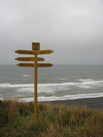 Invercargill, Neuseeland: A sign close to the Scenic Route