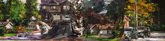 Port Moody, Canada: Painting the Neighbourhood series of thirty original oil paintings by Reza Doust