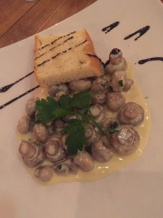 Peterlee, UK: mushrooms with toasted bread in a garlic butter