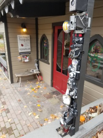 Sugar Loaf, NY: Old film cameras mounted outside the store.